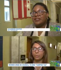 Students Shannon Cooper and Aysha Iqbal on WJLA TV