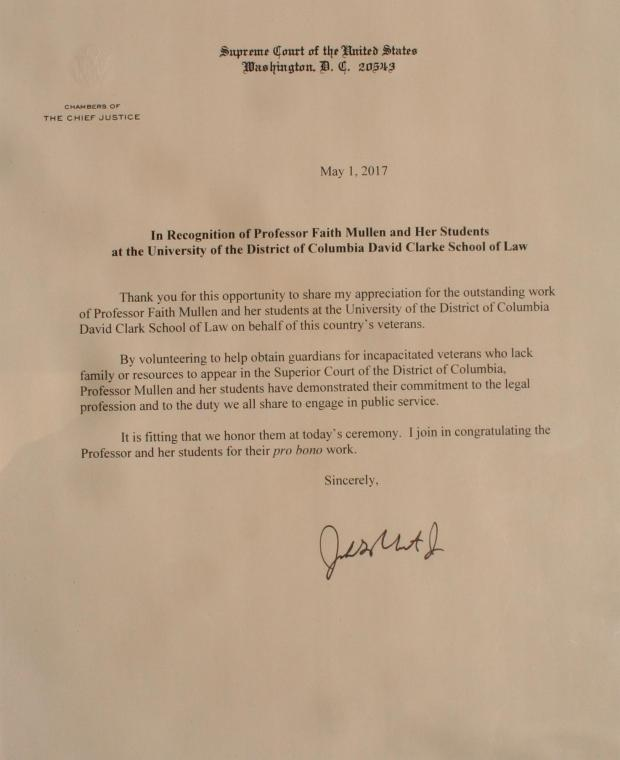 Letter of Recognition from Chief Justice John Roberts