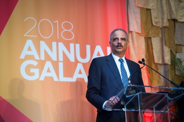 Eric Holder on stage