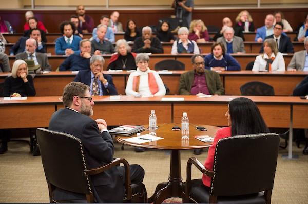 Jonathan Smith and Vanita Gupta speaking