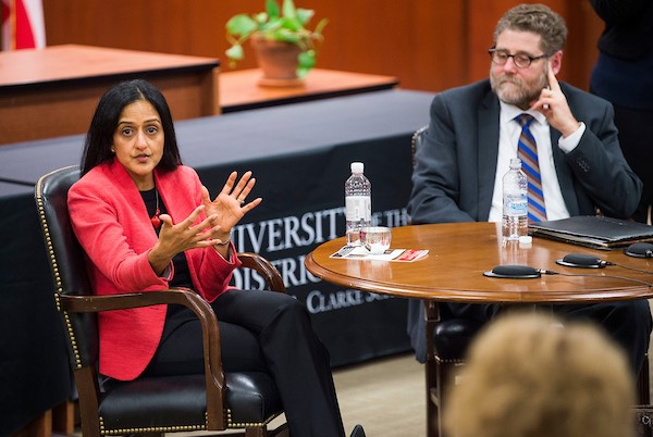 Vanita Gupta and Jonathan Smith speaking