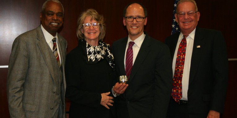 Wade Henderson, Shelley Broderick, Tom Perez and Mike Rauh