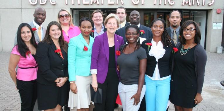 Senator Warren with UDC Law students